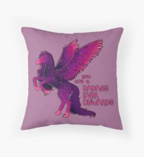 """Badass Ever Onwards"" Pegasus Throw Pillow"