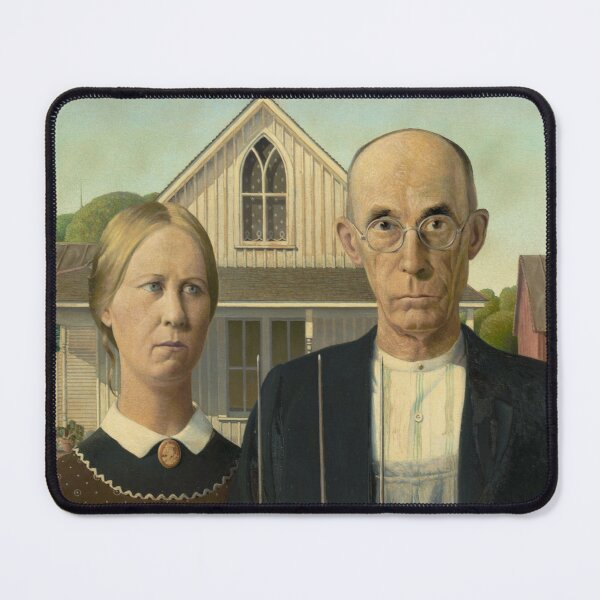 American Gothic Oil Painting by Grant Wood Mouse Pad