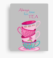 Time For Tea Grey Canvas Print