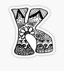 """Hipster Letter """"K"""" Zentangle Sticker"""