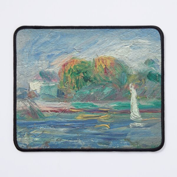 The Blue River Oil Painting by Auguste Renoir Mouse Pad