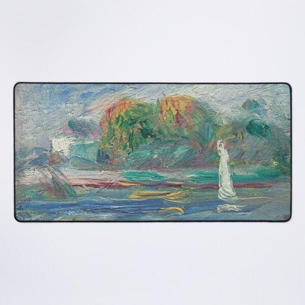 The Blue River Oil Painting by Auguste Renoir Desk Mat