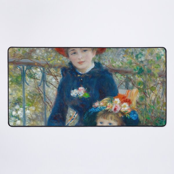 Two Sisters on the Terrace Oil Painting by Auguste Renoir Desk Mat