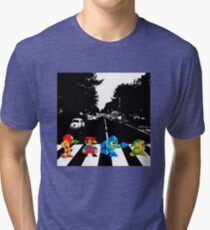 Nintendo Sprites on Abbey Road Tri-blend T-Shirt