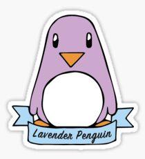 Lavender Penguin Ribbon Sticker