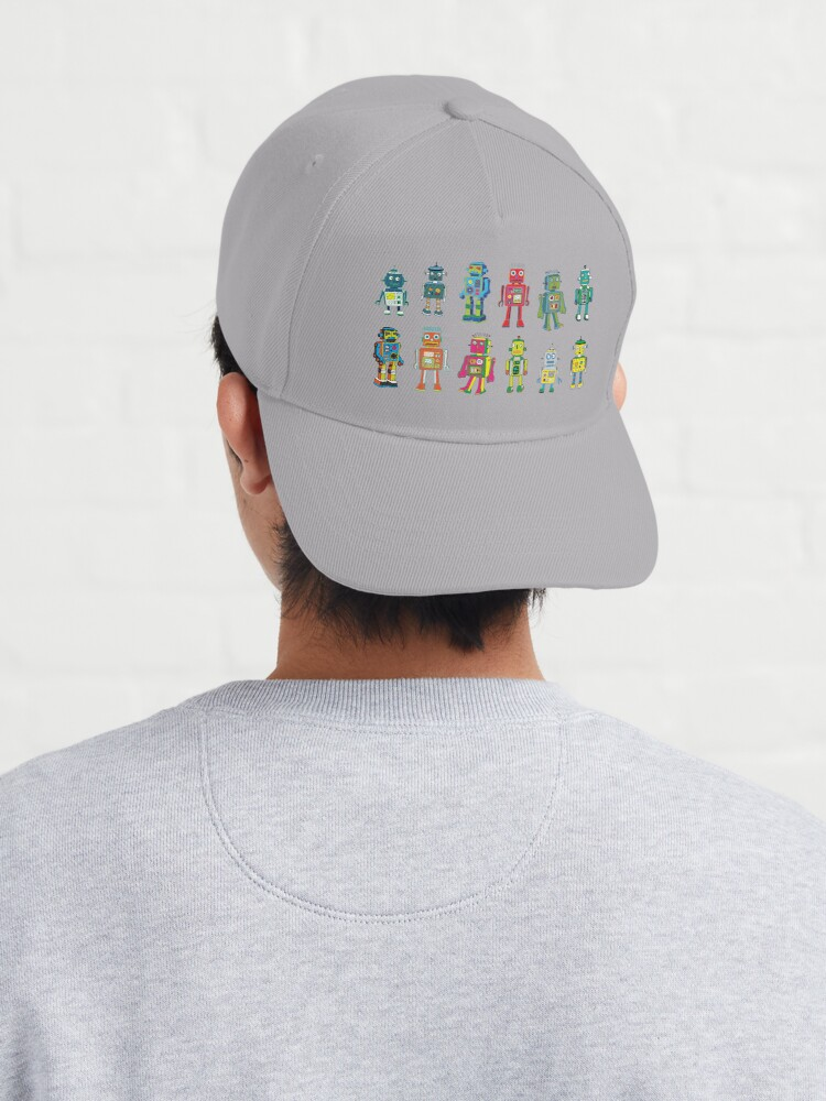 Alternate view of Robot Line-up on White - fun pattern by Cecca Designs Cap