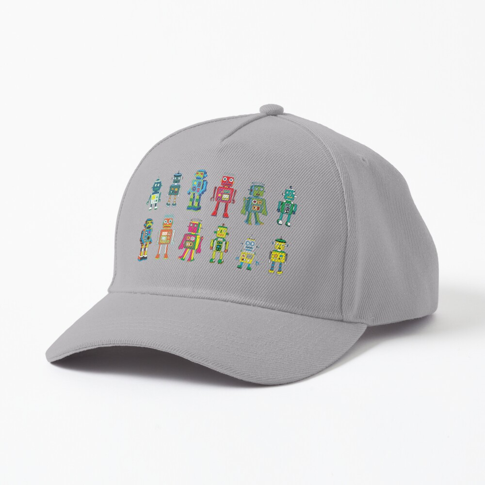 Robot Line-up on White - fun pattern by Cecca Designs Cap