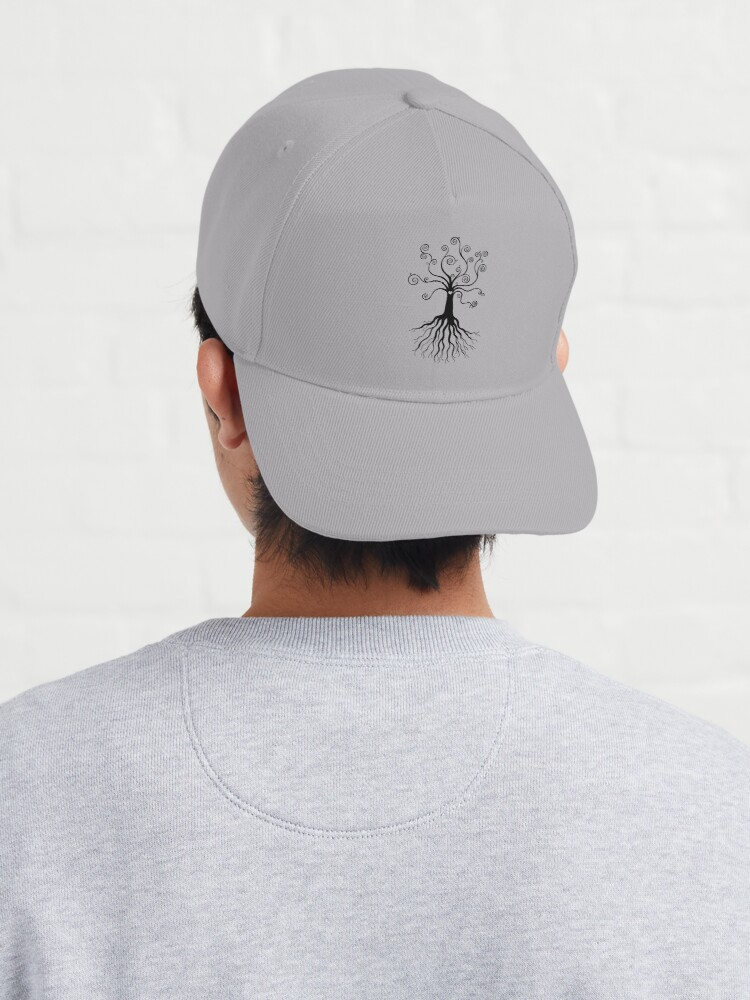 Alternate view of Tree of Life - black and white by Cecca Designs Cap