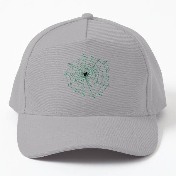 Spider Web Pattern - Black on Green - Spiderweb pattern by Cecca Designs Baseball Cap