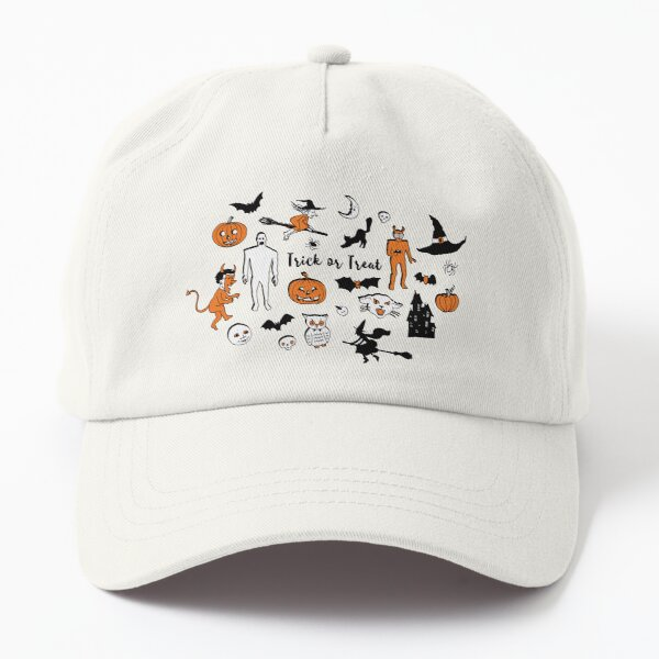Retro Trick or Treat - Turquoise - Halloween pattern by Cecca Designs Dad Hat