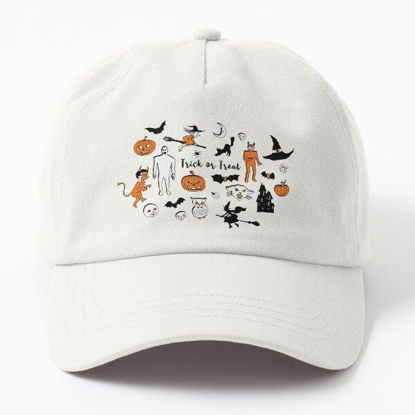 Retro Trick or Treat - Grey - Halloween pattern by Cecca Designs Dad Hat