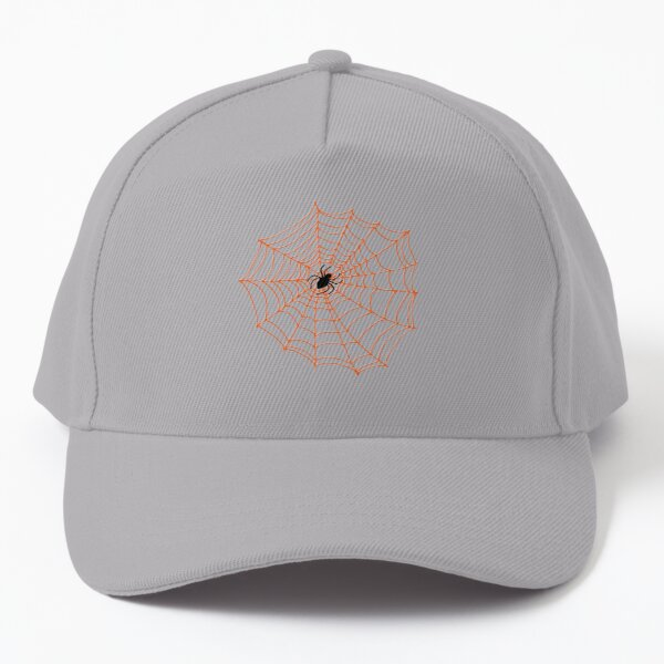 Spider Web Pattern - Black on Bright Orange - Spiderweb pattern by Cecca Designs Baseball Cap