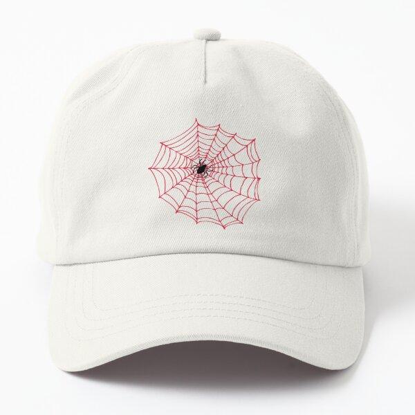 Spider Web pattern - black on Red - Spiderweb pattern by Cecca Designs Dad Hat