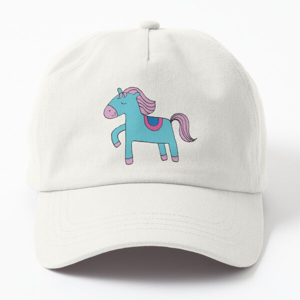 Happy pony - sky blue and pink on sea foam - Cute pony by Cecca Designs Dad Hat