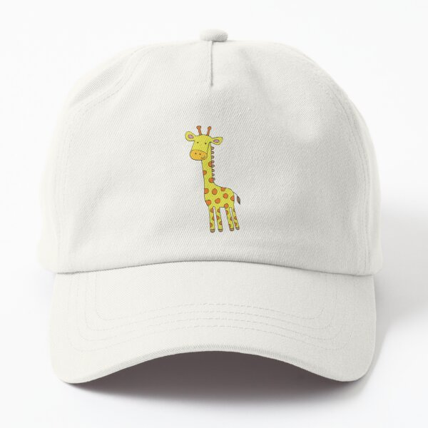 Happy Giraffe - cute cartoon yellow on blue - Cute Giraffe by Cecca Designs Dad Hat