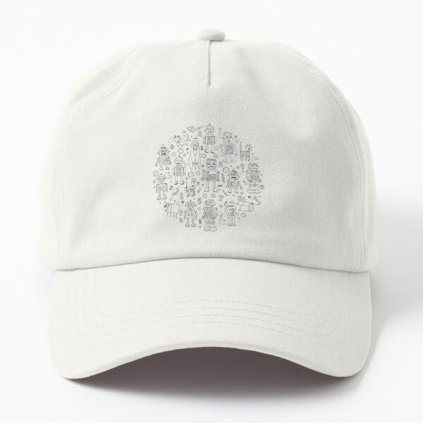 Robot Pattern - white on blue - Fun repeat pattern by Cecca Designs Dad Hat