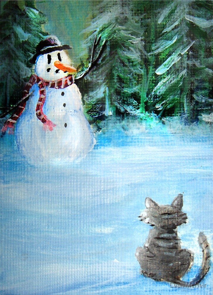 Cute Happy Snowman & Cat in Winter - Folk Painting by Leah McNeir