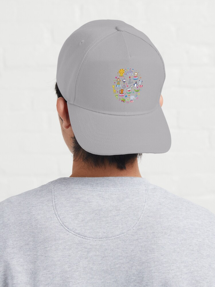 Alternate view of Circus Animal Alphabet - multicoloured on sky blue - Cute animal pattern by Cecca Designs Cap