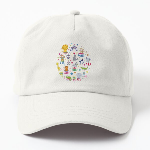 Circus Animal Alphabet - multicoloured on sky blue - Cute animal pattern by Cecca Designs Dad Hat