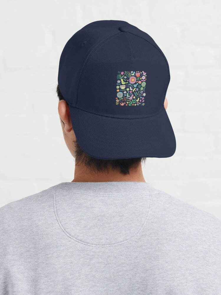 Alternate view of Birds and blooms - pastels on black - pretty floral bird pattern by Cecca Designs Cap