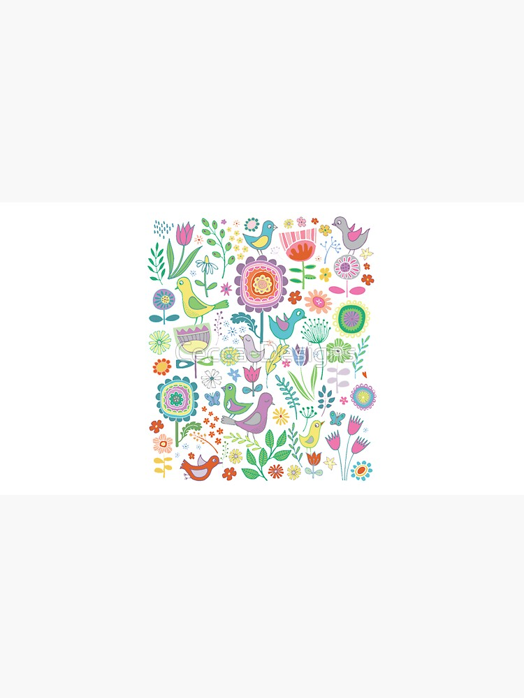 Birds and Blooms - on white - pretty floral bird pattern by Cecca Designs by Cecca-Designs