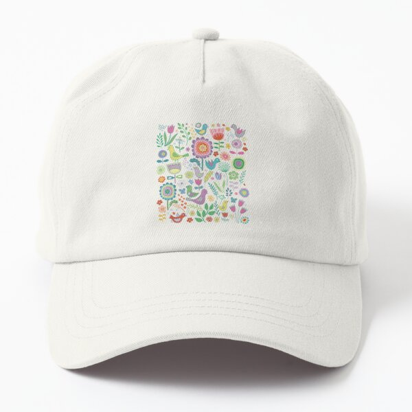 Birds and Blooms - on white - pretty floral bird pattern by Cecca Designs Dad Hat