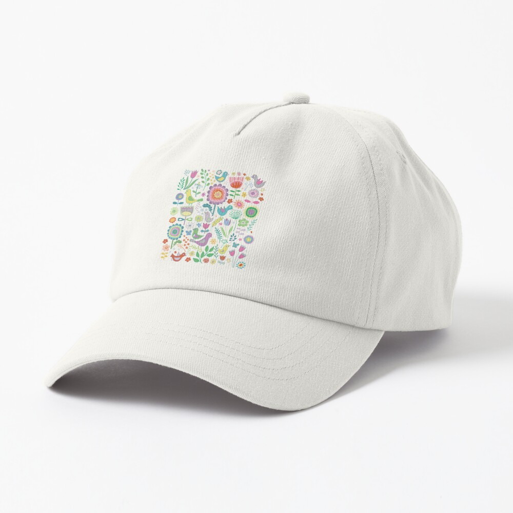 Birds and Blooms - on white - pretty floral bird pattern by Cecca Designs Cap