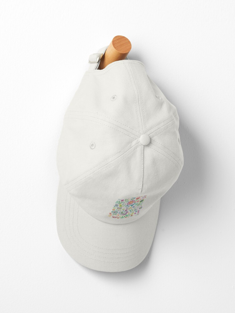 Alternate view of Birds and Blooms - on white - pretty floral bird pattern by Cecca Designs Cap