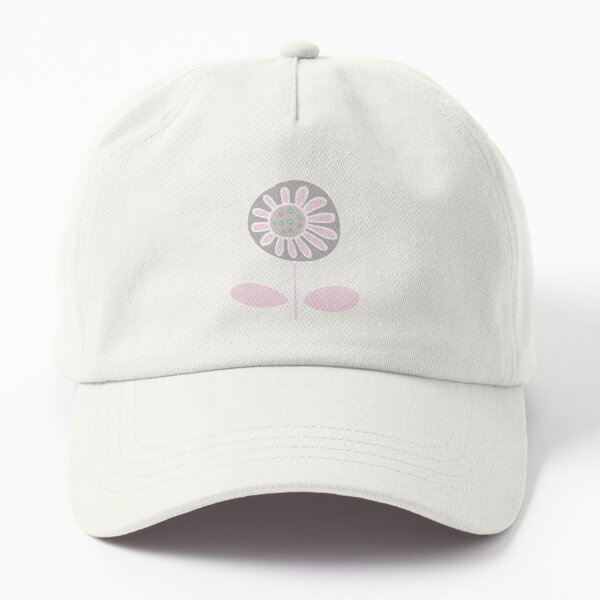 Retro flower - pink and grey - floral pattern by Cecca Designs Dad Hat