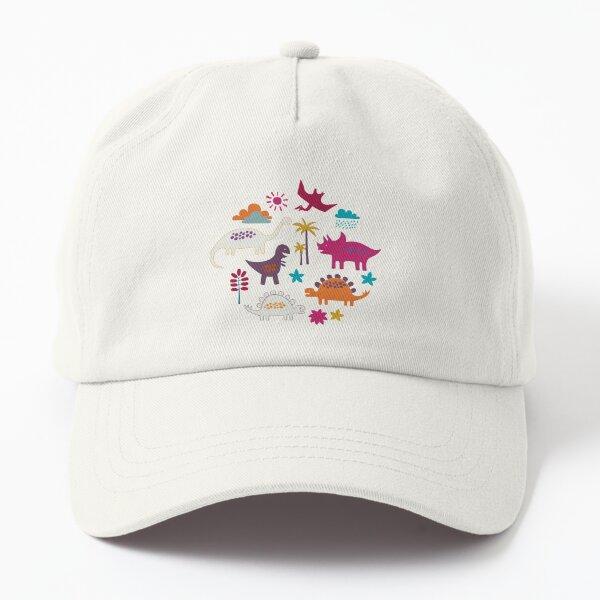 Dinosaur Land - Sunshine Brights - cute Dino pattern by Cecca Designs Dad Hat
