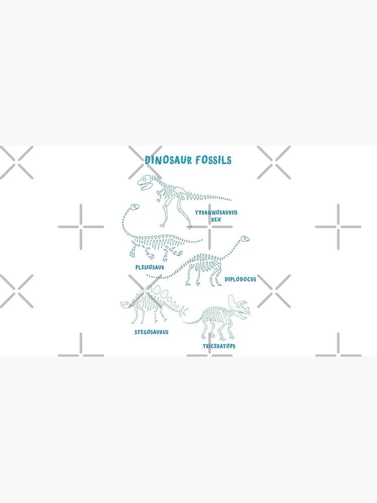 Dinosaur Fossils - aqua on white - Fun graphic pattern by Cecca Designs by Cecca-Designs