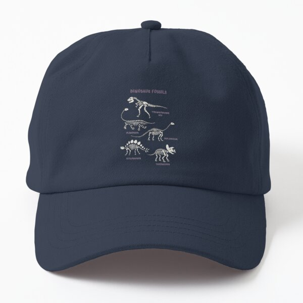 Dinosaur Fossils - cream on brown - Fun graphic pattern by Cecca Designs Dad Hat