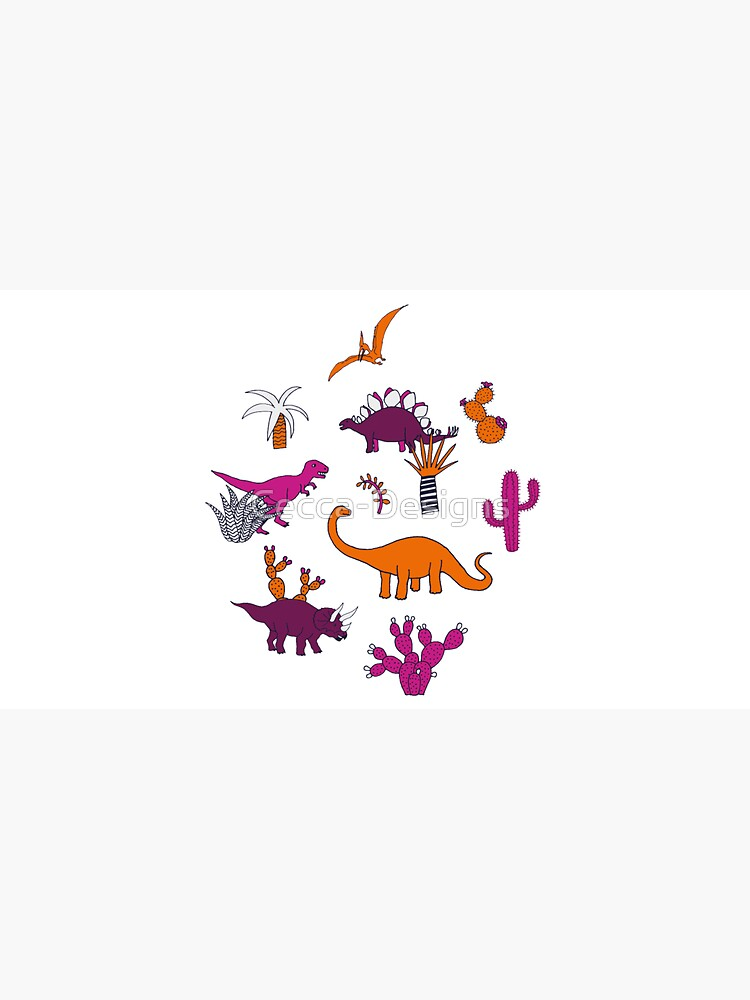 Dinosaur Desert - pink and orange on grey - fun pattern by Cecca Designs by Cecca-Designs