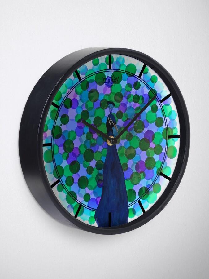 Alternate view of Radiance - Peacock Drum Head Painting Art Clock