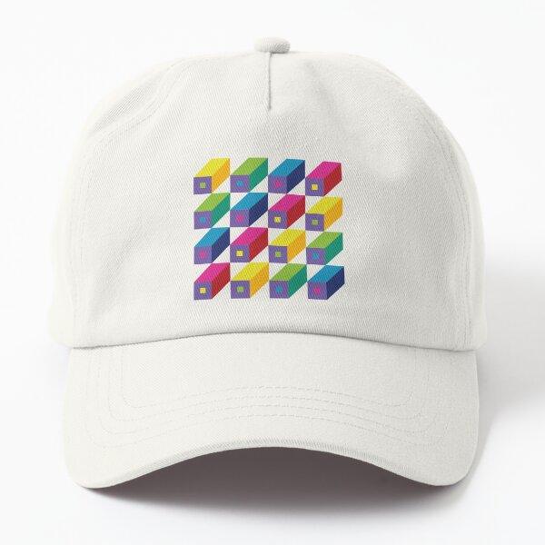 Roman Blocks - brights on grey - Geometric pattern by Cecca Designs Dad Hat