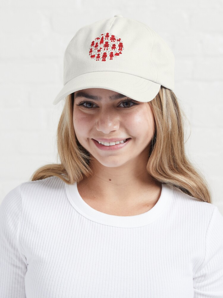 Alternate view of Robot Pattern - Red and White - fun pattern by Cecca Designs Cap
