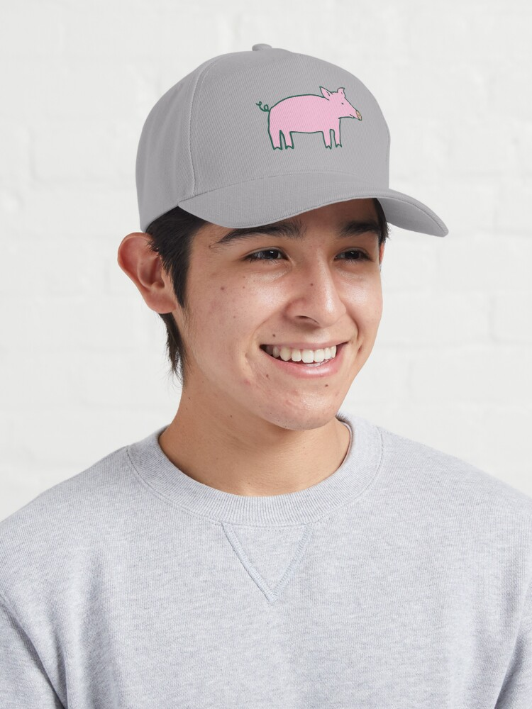 Alternate view of Simple Pig - pink and white - cute animal pattern by Cecca Designs Cap