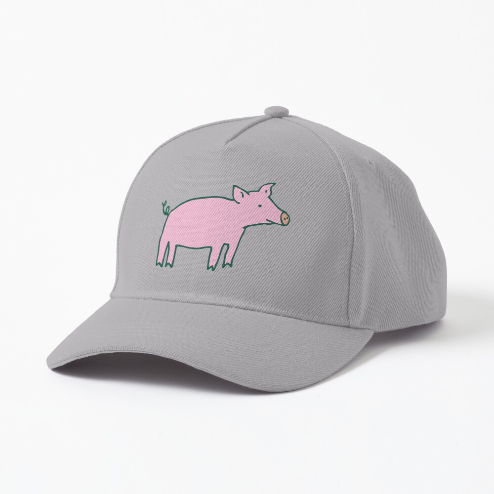 Simple Pig - pink and white - cute animal pattern by Cecca Designs Cap