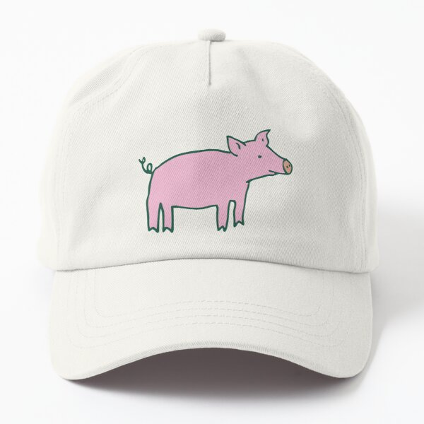 Simple Pig - pink and white - cute animal pattern by Cecca Designs Dad Hat