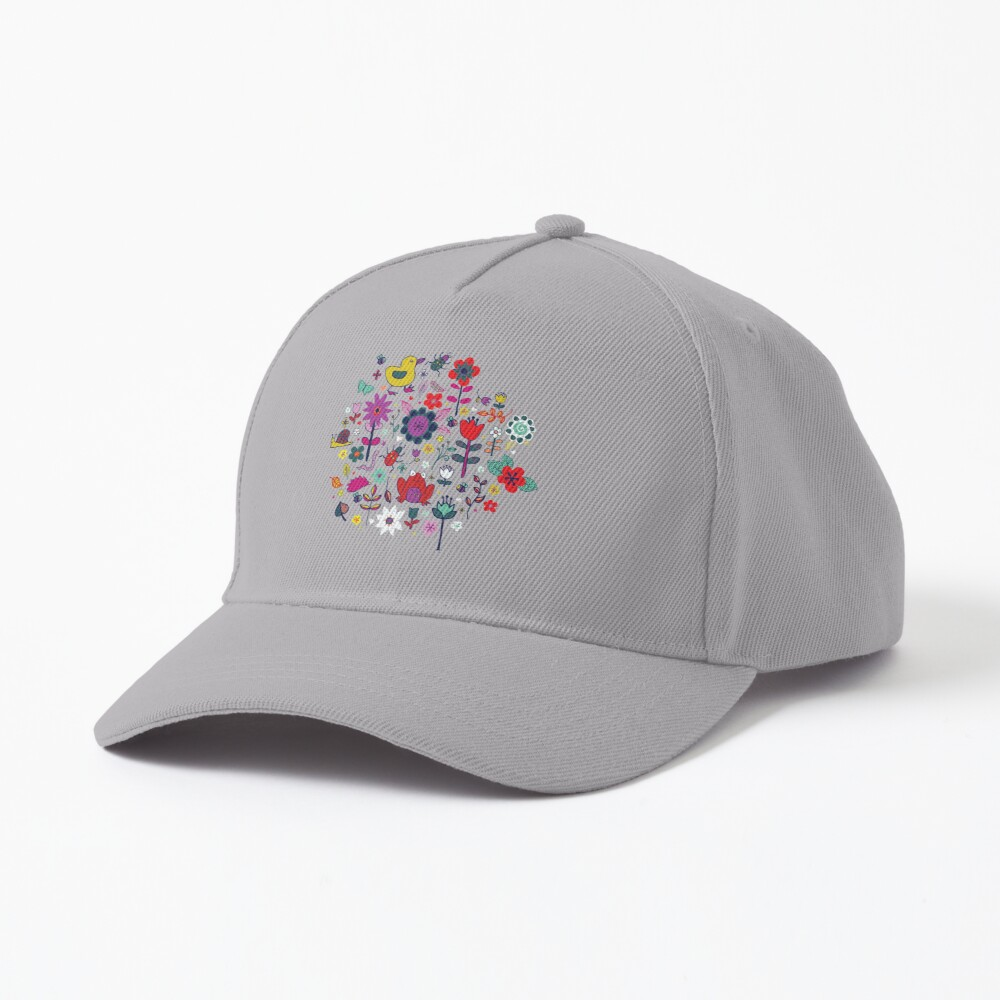 Ducks and Frogs in the Garden - cute floral pattern by Cecca Designs Cap