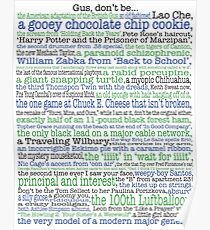 Psych Gus don't be... complete list for Psych fans Poster