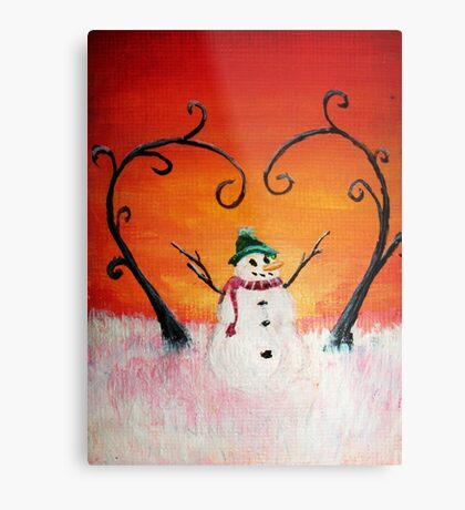Cute Happy Snowman at Sunset - ACEO Folk Painting Metal Print
