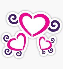 Hearts With Purple Swirls Sticker