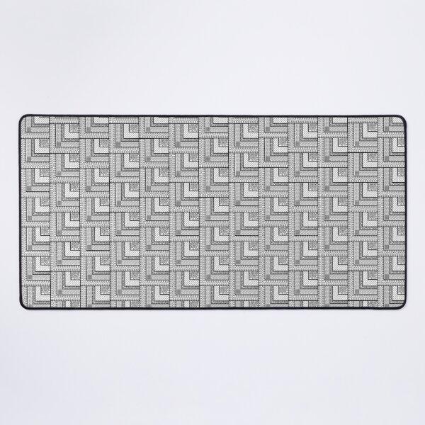 Hyperdetailed Black and White Geometric Zentangle Desk Mat