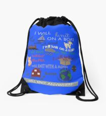Knitting Products: I Will Knit on a Boat   Drawstring Bag