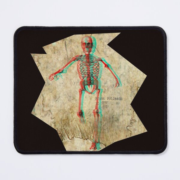 Skeleton chasing You (anaglyph) - 3D Halloween Mouse Pad