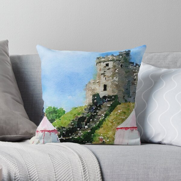 Cardiff Castle Encampment Watercolor Throw Pillow