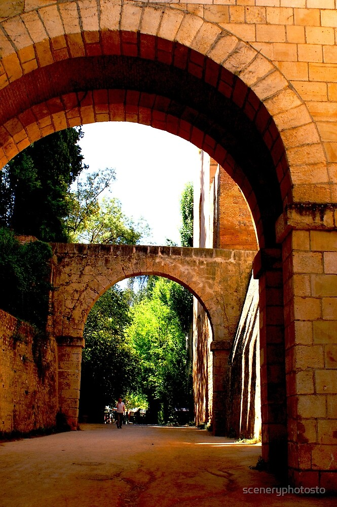 Outside the walls of the Alhambra fortress in Granada by sceneryphotosto
