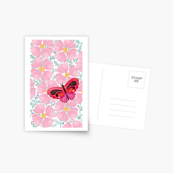 pink flowers red butterfly  Postcard