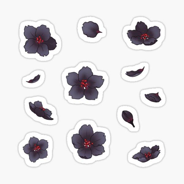 Falling Black Sakura Cherry Blossom Sticker